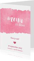 Menukaart 21 diner waterverf roze - DH