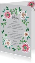 Menukaart bloemen botanisch grijs