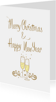 Merry Christmas & Happy New Year champagne bubbles