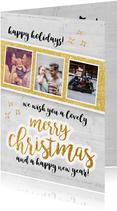 Merry christmas - fotokaart met goud