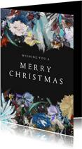 Merry little Christmas bloemen Kunst kerstkaart