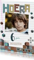 Minecraft verjaardagskaart Hoera