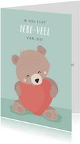 Mintgroene valentijnskaart illustratie van beertje met hart
