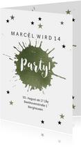 Moderne Einladung zum 14. Geburtstag mit Farbfleck