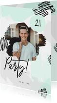 Moderne Einladung zum 21. Geburtstag Farbstreifen pastell