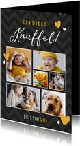 Moderne fotocollage kaart met 6 foto's - dikke knuffel