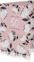 Moderne Glückwunschkarte mit weißen Blumen