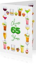 Moderne kaart met glazen, diverse drankjes, 65 jaar