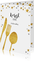 Moderne kerst menukaart goud bestek en sterren