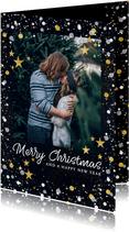 Moderne kerstkaart met foto, gouden confetti en sterren