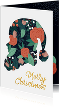 Moderne kerstkaart met kerstman silhouet en kersttakjes