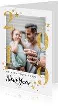 Moderne nieuwjaarskaart goudlook 2019