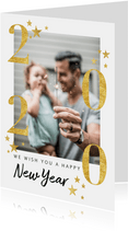 Moderne nieuwjaarskaart goudlook 2020