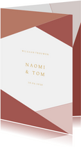 Moderne trouwkaart geometrische vormen