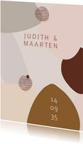 Moderne trouwkaart met organische vormen