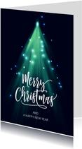 Moderne zakelijke kerstkaart kerstboom lichtjes