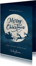 Moderne zakelijke kerstkaart silhouet van kerstman in maan