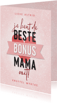 Moederdag kaart beste bonus mama met hartje en banner