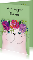 Moederdag kaart Kat met bloementooi - SK