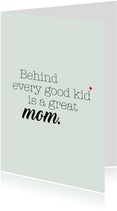 Moederdag kaart quote 'Great mom'