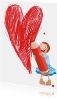 Moederdag met meisje die een hartje tekent
