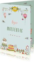 Moederdag kaarten - Moederdag taartjes en vogeltjes