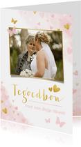 Moederdag tegoedbon kaart met foto, roze waterverf hartjes