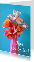 Moederdagkaart bloemen op vaas