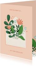Moederdagkaart bloemetje uit een envelop