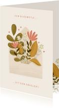 Moederdagkaart een bloemetje uit een envelop