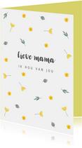 Moederdagkaart gele bloemetjes