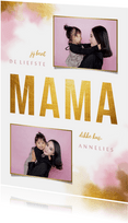 Moederdagkaart gouden 'MAMA' met foto's en waterverf