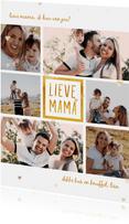 Moederdagkaart 'lieve mama' met 6 foto's