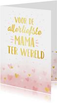 Moederdagkaart met handlettering - roze waterverf en hartjes