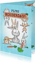 Moederdagkaart met moeder konijn en veel vrolijke konijntjes