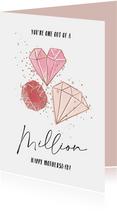 Moederdagkaart met mooie quote en geïllustreerde diamanten