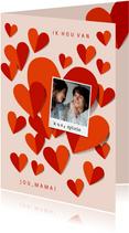 Moederdagkaart rode hartjes, foto en ik hou van jou mama
