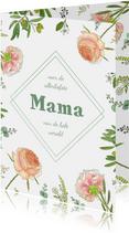 Moederdagkaart rozen en eucalyptus