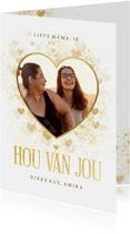 Moederdagkaart stijlvol gouden hart met foto