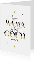 Moederdagkaart stijlvol modern grafisch goud hartjes