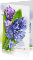 Mooie bloemenkaart Hyacinten in waterverf