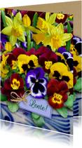Mooie bloemenkaart lentebloemen in het voorjaar