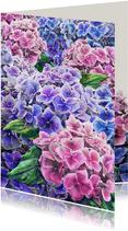 Mooie bloemenkaart met hortensia's in waterverf.