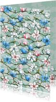 Mooie bloemenkaart met Japanse Magnolia's