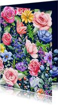 Mooie bloemenkaart met rozen en diverse andere bloemen