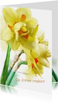 Mooie bloemenkaart Narcissen op waterverf lentegroet