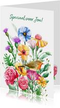 Mooie bloemenkaart om een vriendin te bedanken.