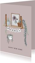 Mooie felicitatiekaart voor nieuwe woning met hangplanten