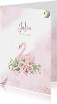 Mooie geboortekaart met zwaan en roosjes