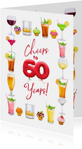 Mooie kaart met glazen diverse drankjes 60 jaar